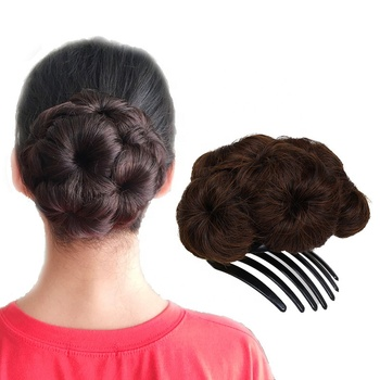 Wholesale Ladies Black Cheap Synthetic Curly 9 Flower Clip On Wigs Hair Net Buns Chignon China Manufacturer Chignon Pieces Bun