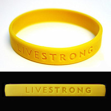 LIVE STRONG Sport Wristband Motivational Hologram Bracelets Silicone Concave Text Adults Teenagers Bracelet Outdoor Yellow