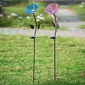 Get Quotations · Garden Stakes / Flower Garden Stakes With LED Solar  Technology Inch Purple And Blue Set