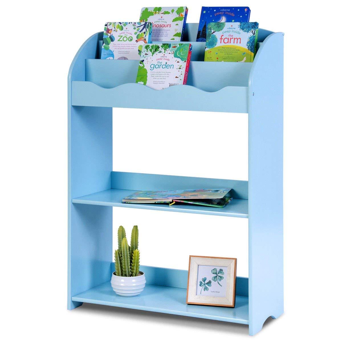 Get Quotations Caraya 3 Tier Kids Bookshelf Magazine Storage Bookcase Furniture Gift Study Blue