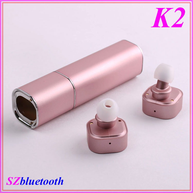 TWS K2 lipstick V4.1 magnetic earbuds super mini ture wireless hidden invisible bluetooth earphone
