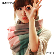 Wide Plaid Long Shawl Women Wrap Blanket Warm Tippet Cashmere Scarves
