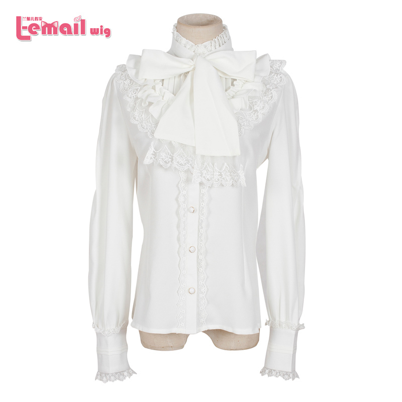 0d09147c31ae3c Get Quotations · Free Shipping 5 Color Women Long Sleeve Vintage Lace Black White  Gothic Sweet Chiffon Lolita Blouse