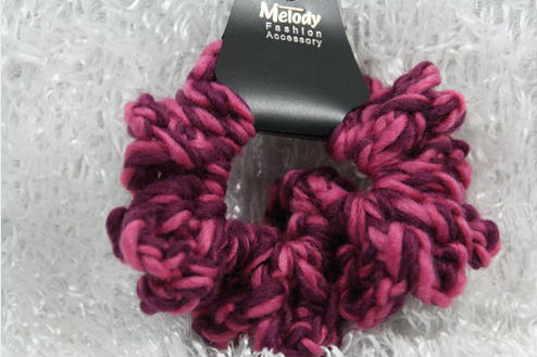 Godbead Yarn scrunchie ponytail holder DARL LIGHT FUCHSIA colorful soft ouch less crafty