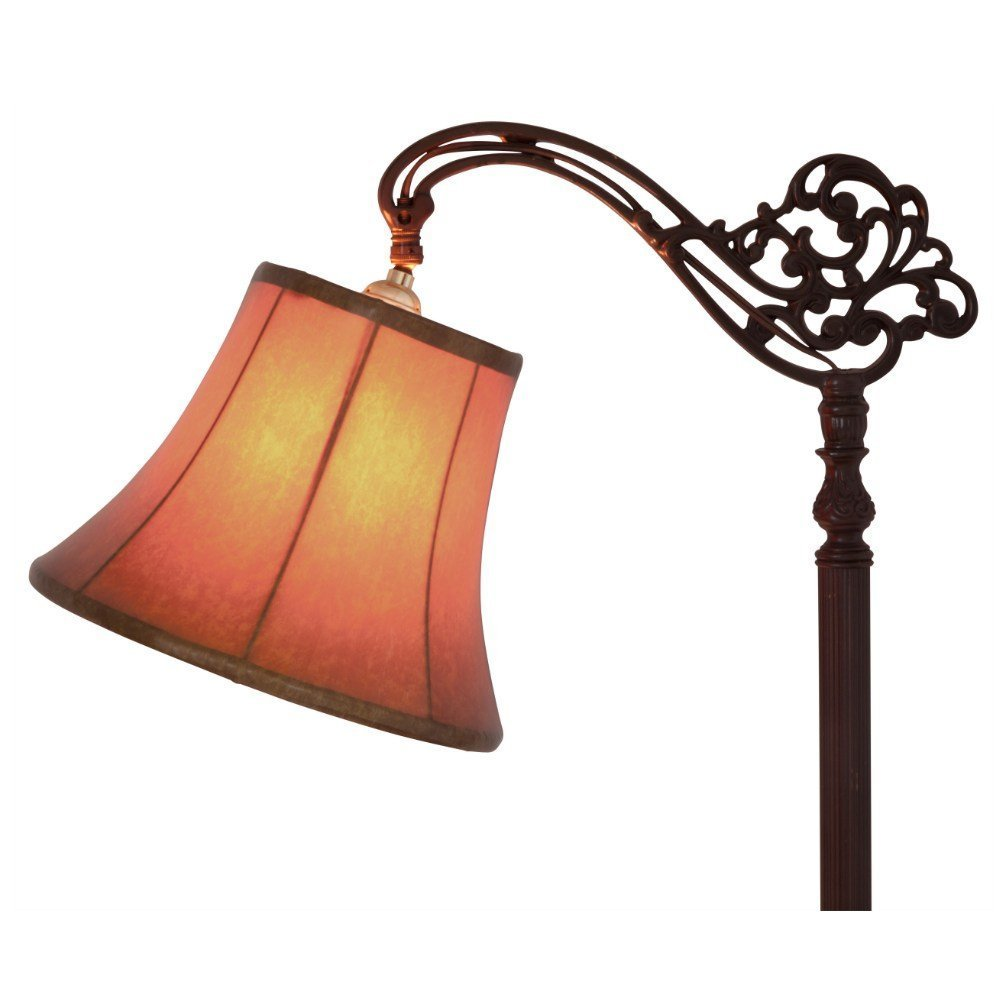Upgradelights Tan 12 Inch Leather Bell Lamp Shade with Uno Fitter (8x12x8.5)