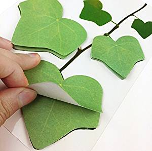 (2 sheets of 60 stickers) Novelty Leaf Shaped Sticky Note Paper Memo Pads Portable Scratch Pads Scratch Paper Notepads Post-it Note -Tree Leaf Post-It Sticky Notes, Green