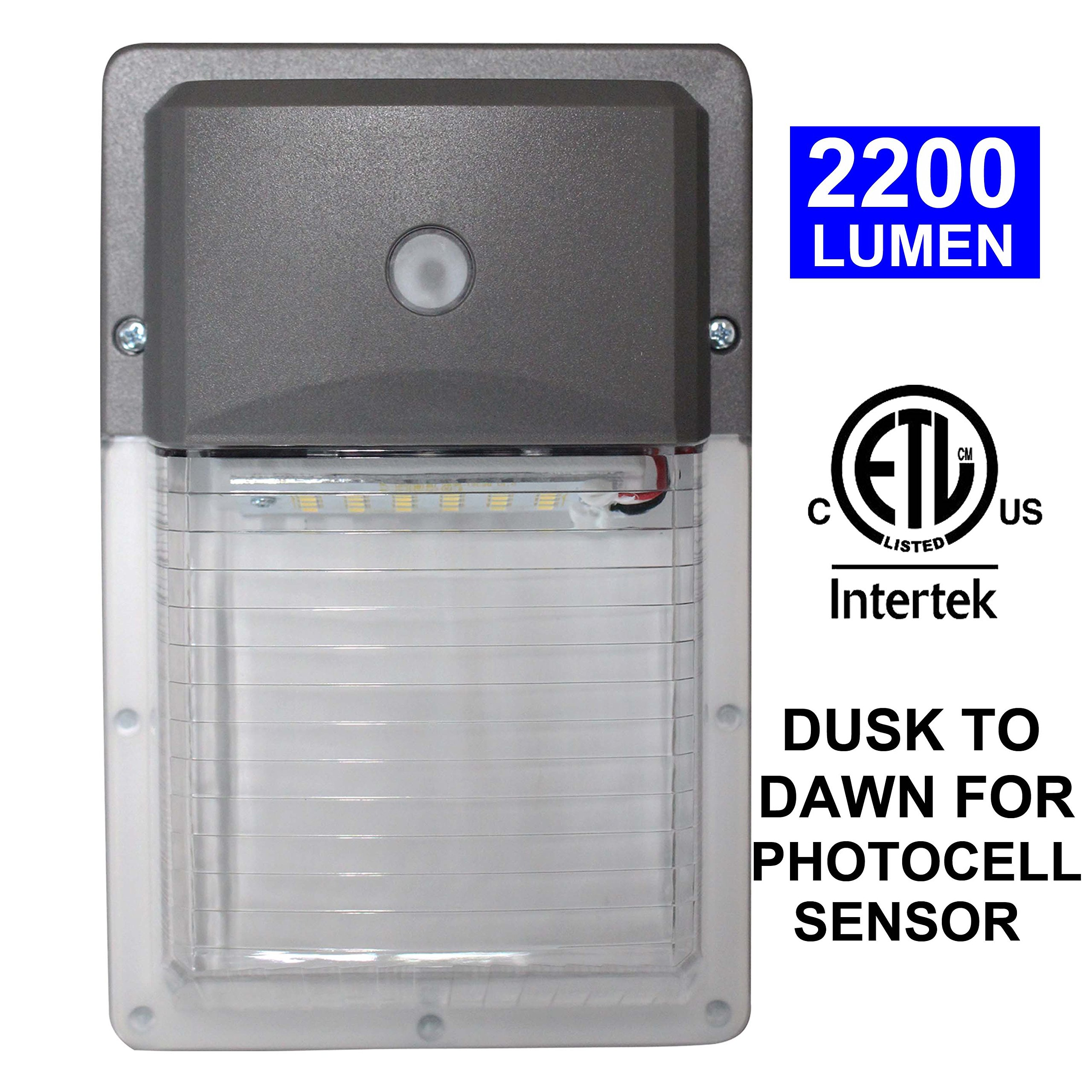 LED Wall Pack Light,18W 2200lm 5000K Daylight, Photocell Sensor with Dusk-to-dawn Funcation, IP65 Rated, 100-277Vac, 5-Year Warranty, Equivalent to150W, 18W 5000K (4PK)