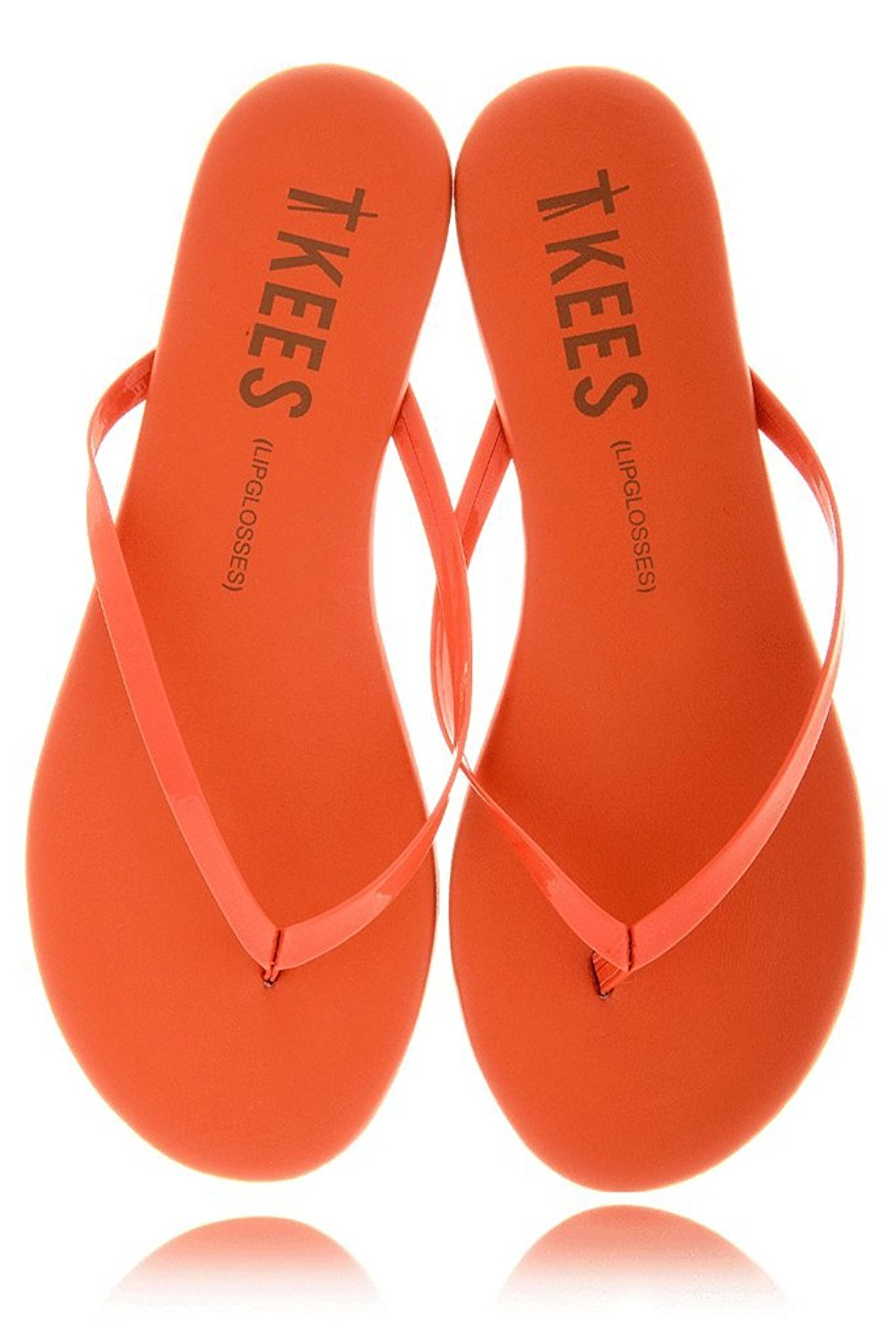 0d56a9e39a296 Get Quotations · LIPGLOSSES Poppy Orange Leather Thong Sandals