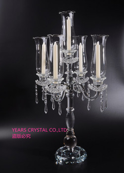 New Design Crystal Table Candelabra With Tall Hurricanes Pillar Candle  Holder