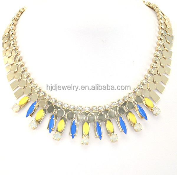 latest design fashion gold chain jewelry czech crystal necklace