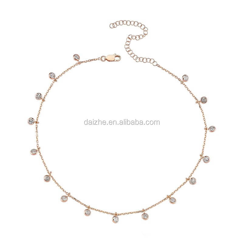 Yiwu factory new winter top quality delicate chain charm style chunky 925 silver cz drop necklace фото