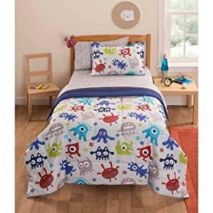 5 Piece Kids Cute Monster Themed Comforter Twin Set, Adorable Friendly Creatures All Over Pattern, Multi Colored Monster Prints, Polyester, Reversible Stripes Bedding, Blue Yellow Red White