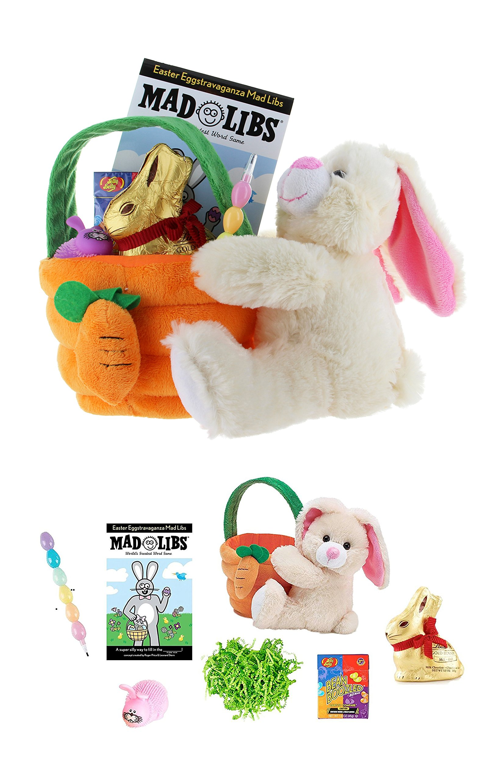 "Plush Bunny 10"" Easter Basket, Ready to Gift: Mad Libs, Lindt Gold Bunny, Egg Pencils, Puffer Toy, Bean Boozled Jelly Beans"