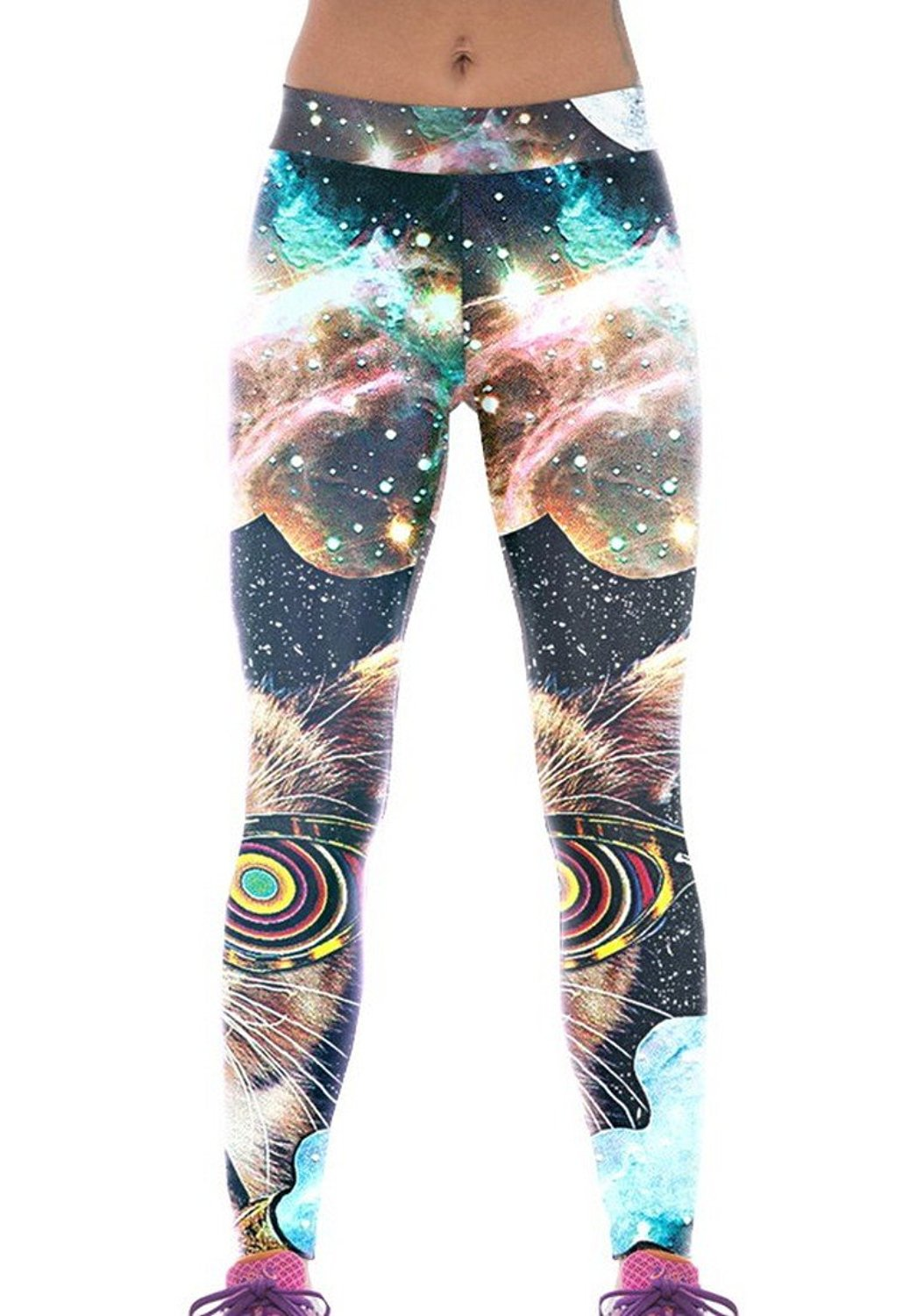 ffeef0df62f603 Get Quotations · RedBeana Women Space Cat Print Workout Yoga Leggings Tight  Pants Multi Color