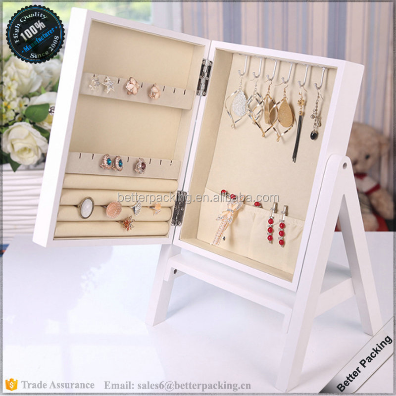 Shop Wood Jewelry Case Show Display Hanging Organizer Box with Mirror