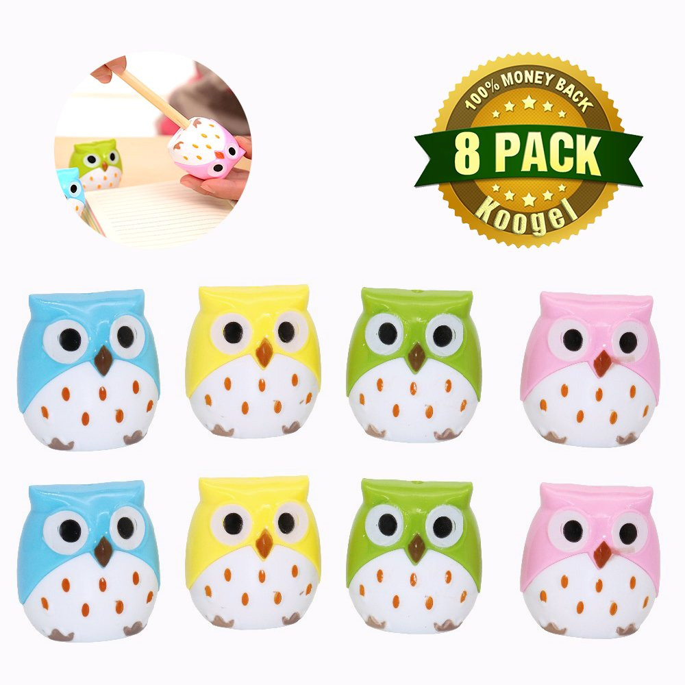 Koogel 8 PCS Creative Kawaii Owl Double Hole Pencil Sharpener Cutter Knife Promotional Gift Stationery Student Prize School Supplies
