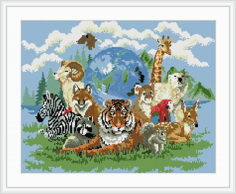 Abstract magic cube diamonds painting zoo animal design GZ012