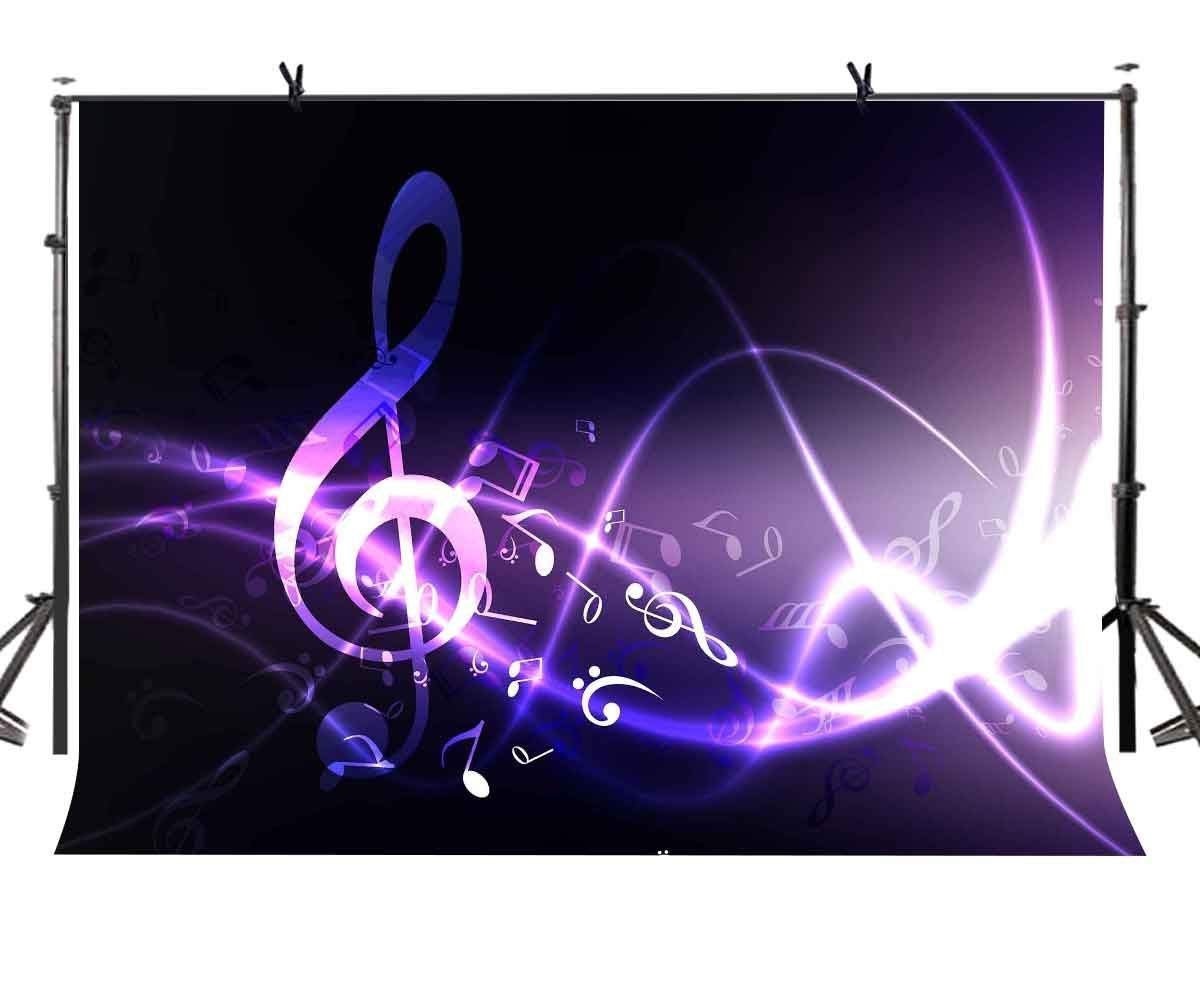 ERTIANANG 150x220cm Psychedelic Music Backdrop Purple Psychedelic Music Symbol Photography Background and Musical Theme Party Screen