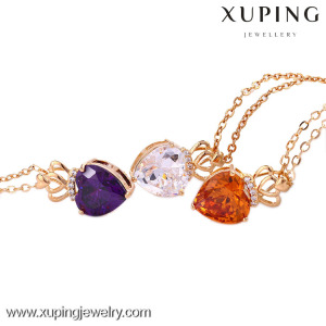 41843 xuping colorful unique necklace jewelry, ladies 18K gold plated necklace, love heart shaped crystal necklace