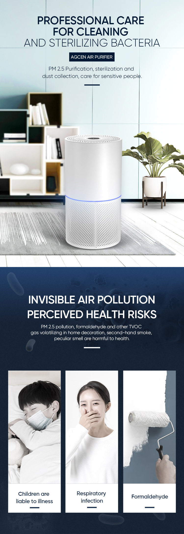 Factory Remove Dust PM 2.5 Pets Hair Pollen Small Room Air Cleaner True HEPA Filter Air Purifier For Home Hospital School