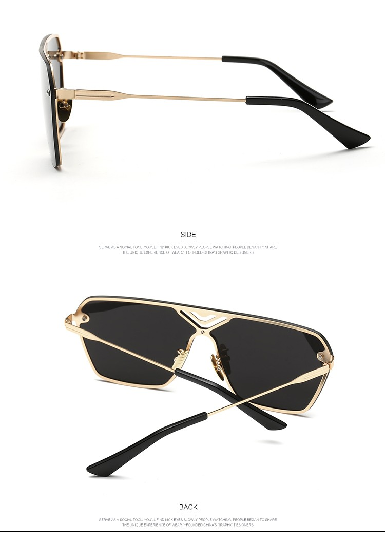 3e52f83eb5 AEVOGUE Sunglasses Men Conjoined Spectacle Lens Rimless Copper Frame ...