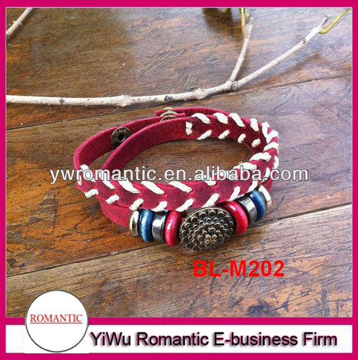 Hot sale red leather half braided bracelet wholesale