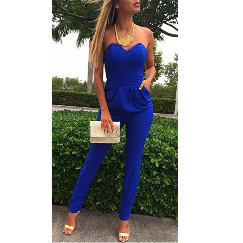 Buy Macacao Feminino E Macaquinhos Rompers Women Jumpsuit Sexy Blue