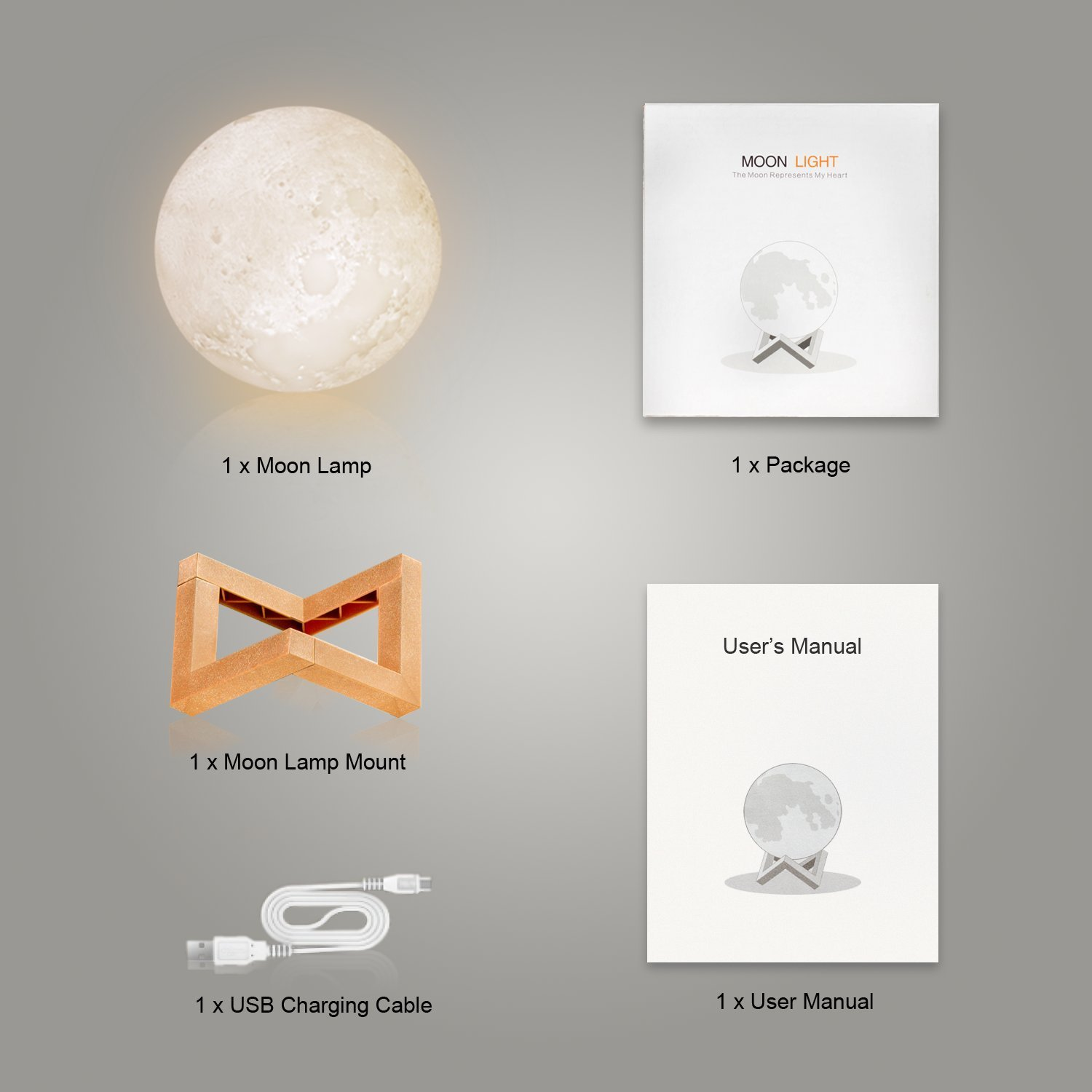 5.9 inch 3D printed, Night light for Kids, Glowing Moon Globe Lamp for Bed