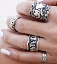 Hot Sale Bohemian Elephant Carved Wide Band Ring Sets Punk gold/Silver Color Stone Midi Finger Rings set for Unisex