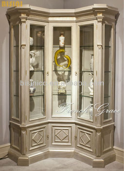 French Grace Living Room Glass Corner Cabinet - Buy French Corner ...