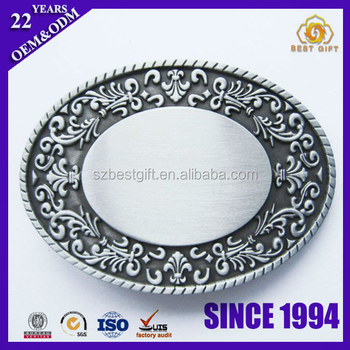Blank Antique Oval Flower Engraving Metal Belt Buckle