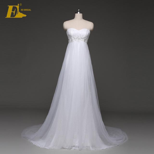 Ed White Strapless A Line Bead High Waist Liques Floor Length Chiffon Wedding Dress