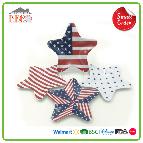Star Shaped Printed Melamine Dessert Plate With Custom Printed
