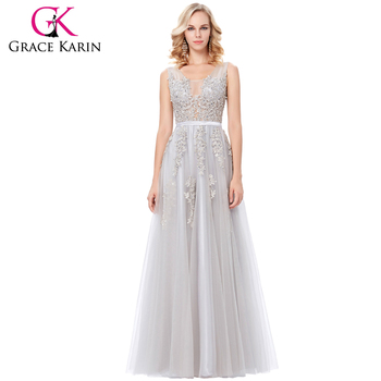 Grace Karin Elegant Deep V-Back Soft Tulle Netting Sleeveless Long Grey Real Sample Pictures Evening Dress vestidos GK000130-2