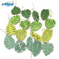 Folk art style creative designs green leaf shape low price vintage laser cut printed home ornaments decorations