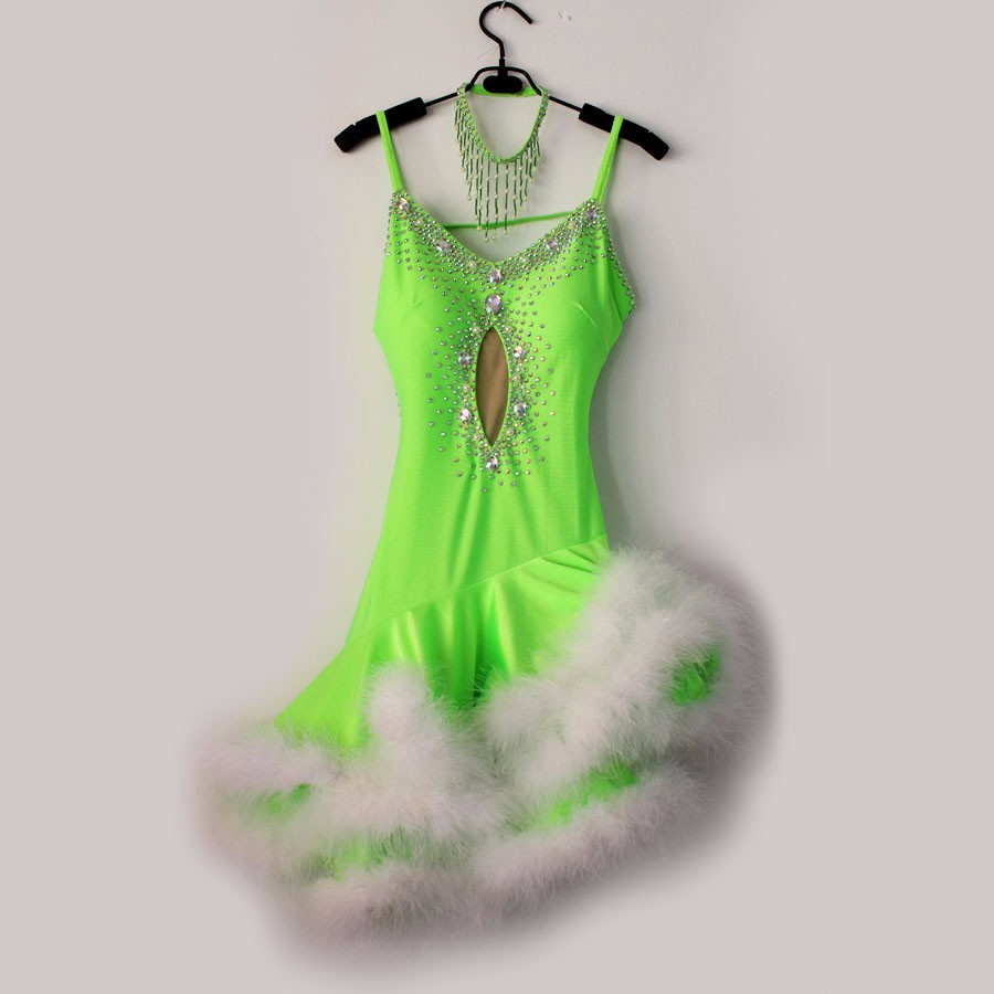 New style Latin dance costume sexy senior stones feather latin dance dress for women latin dance competition dresses S-4XL 6