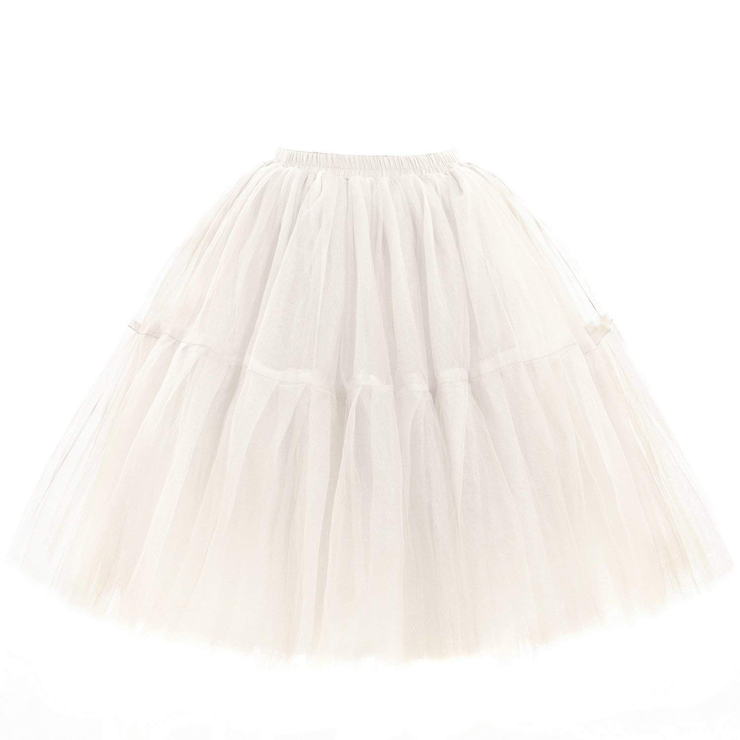 MisShow Lady's Tutu Skirt Soft Tulle Half Slips Knee Length Underskirt 18 Colors