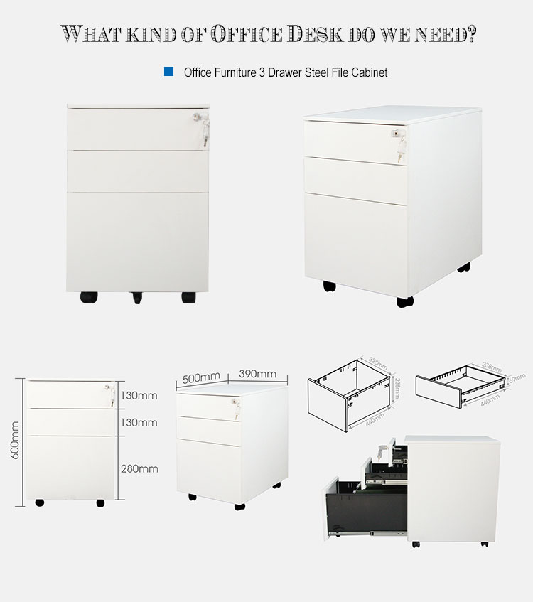Office 3 drawer movable steel cabinet with lock on wheels
