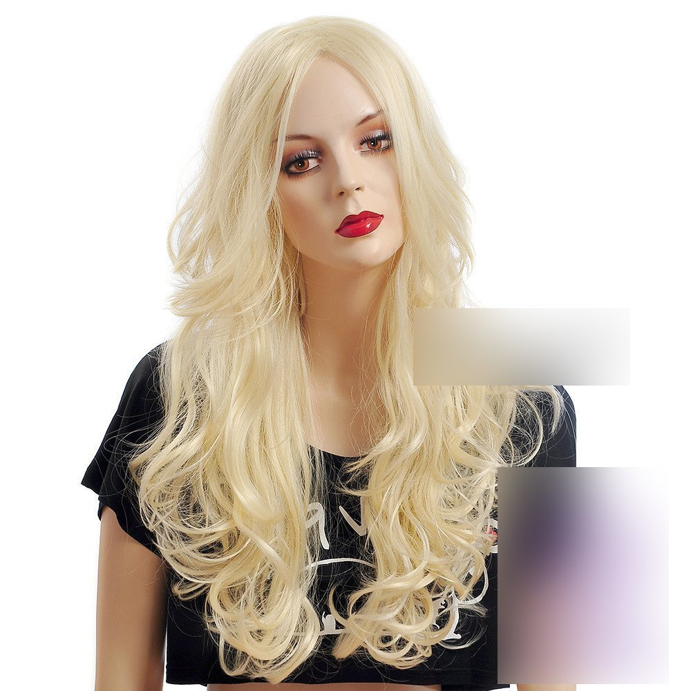 """Coolsky 26 """" Big Waves Curly Hair Wig Light Blonde Wig For Women Cosplay Wig"""