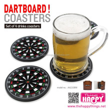 Factory Direct Plastic Novelty items in Dart Board style 4pcs Plastic Drink Cup Coasters