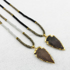 NE2402 Good quality 6mm pyrite,hematite and crystal beaded necklace, jasper arrowhead pendant necklace