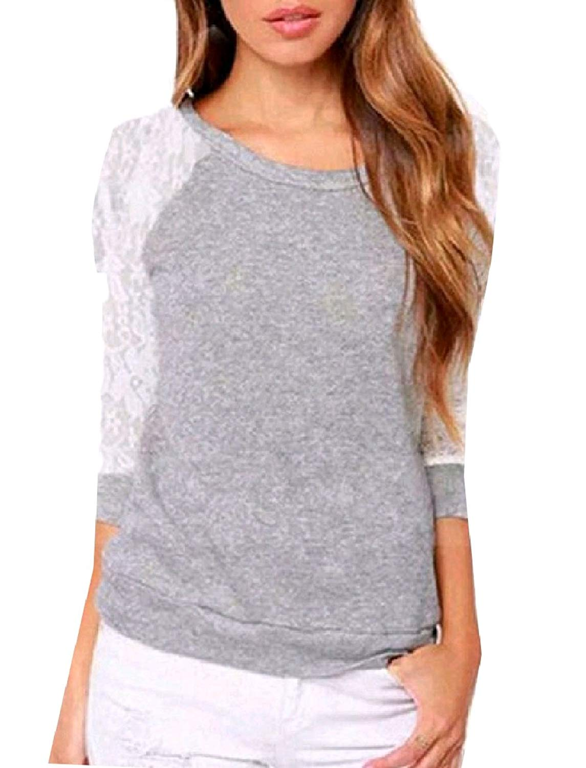 Zimaes-Women Fashionable Hollow Out Crew-Neck Lace Hem Line Long-Sleeve Pullover Tshirt Top