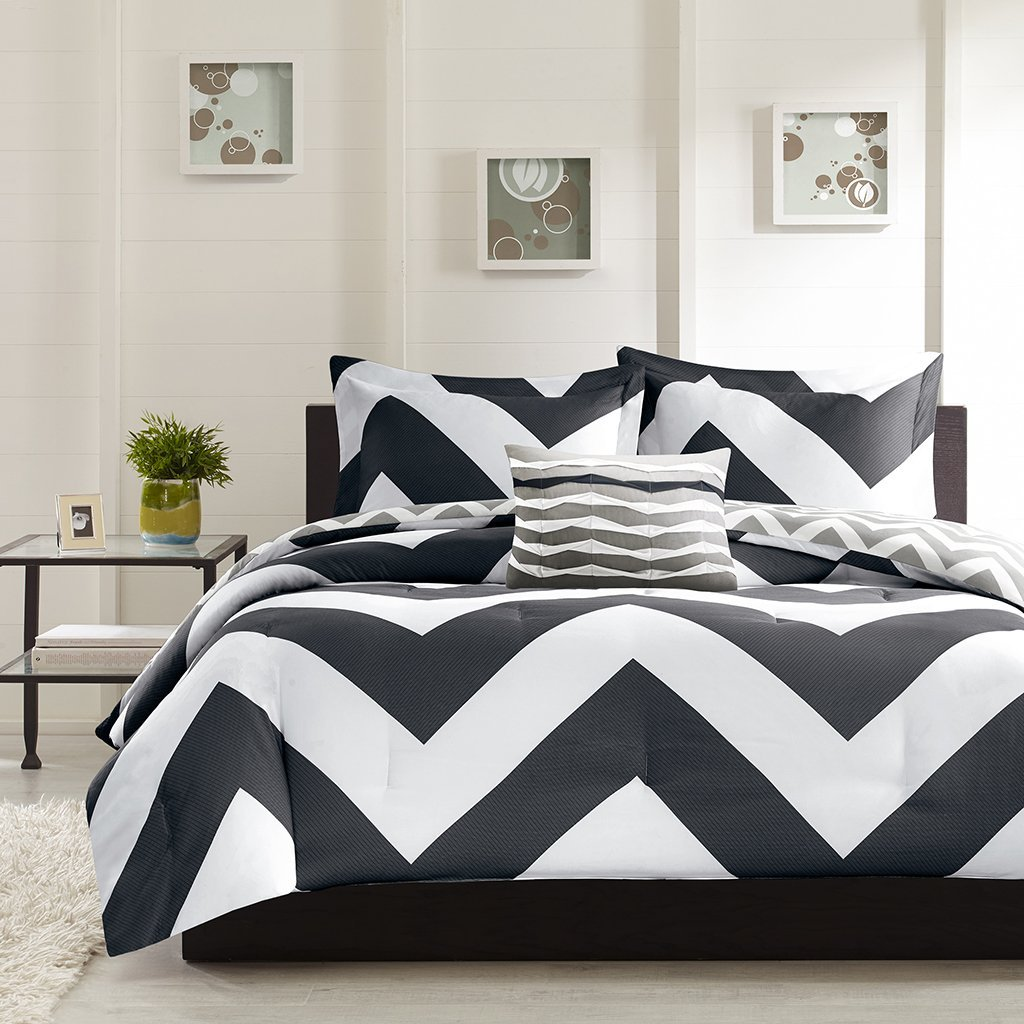 colored set pillow grey two decorative originalviews stripe sporty accent queen bedding white top with bedroom one sophisticated comforter flanged wooden chevron glass shams black headboard