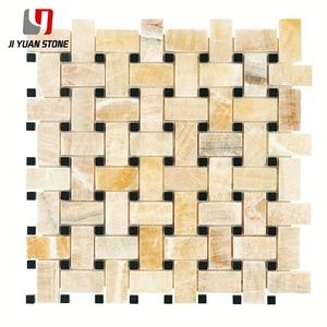 Lower Price Honey Onyx Mosaics Basketweave Tile For Backsplash