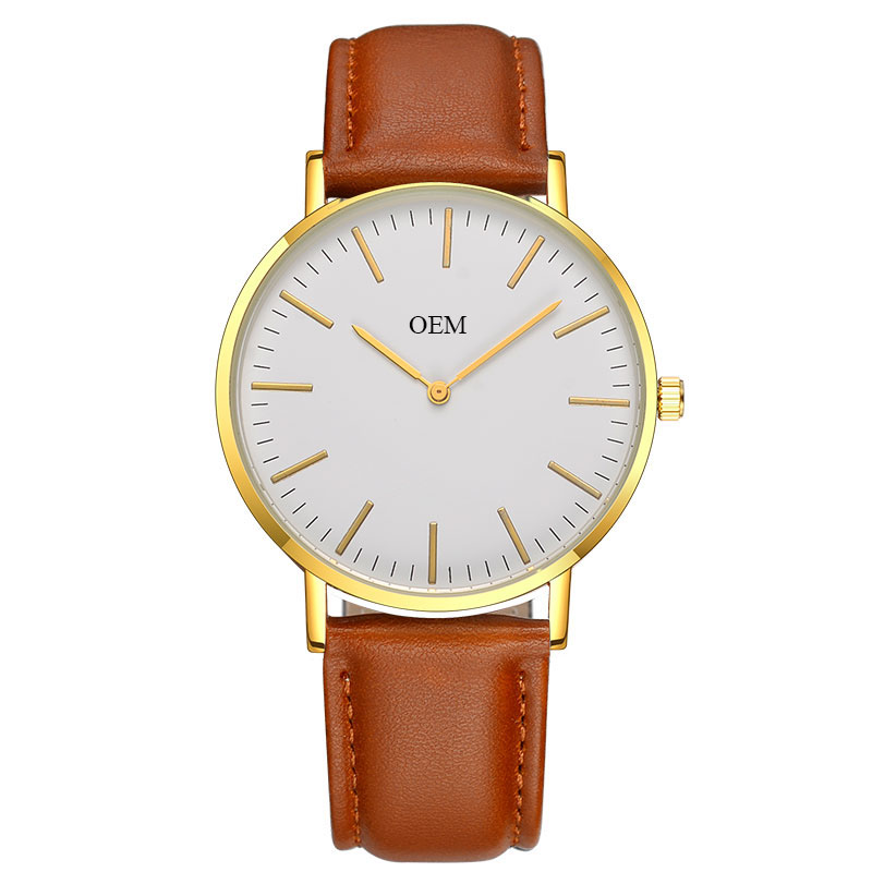 Cheap OEM Watches Made in China Factory Bulk Sale Personalized Logo Watches Men Gold Case Quartz Women Wrist Watch, Choose color number
