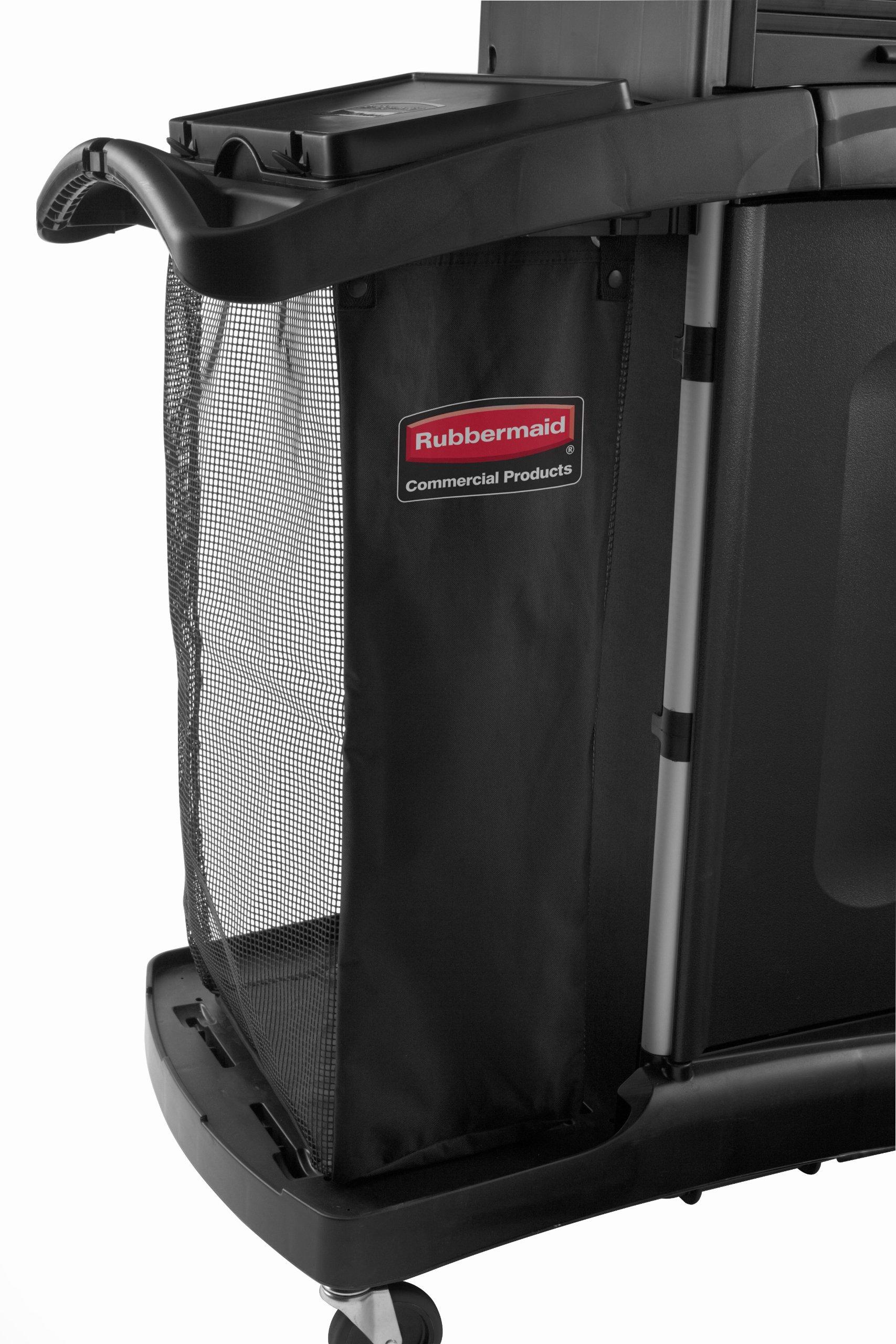 Rubbermaid Commercial Executive Series FG9T9101BLA Mesh Linen Bag Side Load Metal Carts