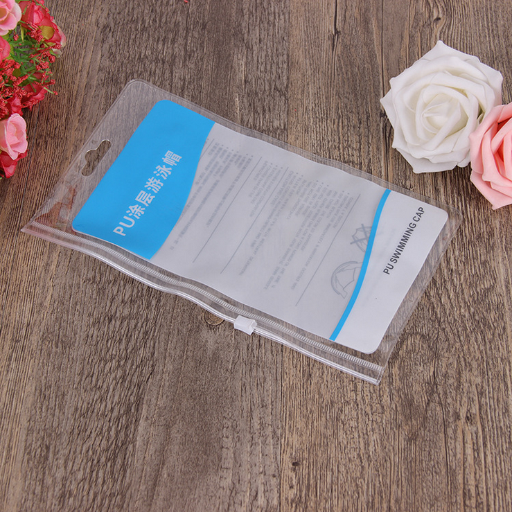 Custom Printing Clear PVC Ziplock Bags With Hanging Hole For Swimming Cap Packing