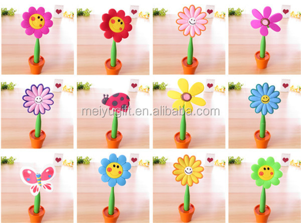 hot sale good quality novelty 3d flower shaped plastic ball pen with flowerpot stand