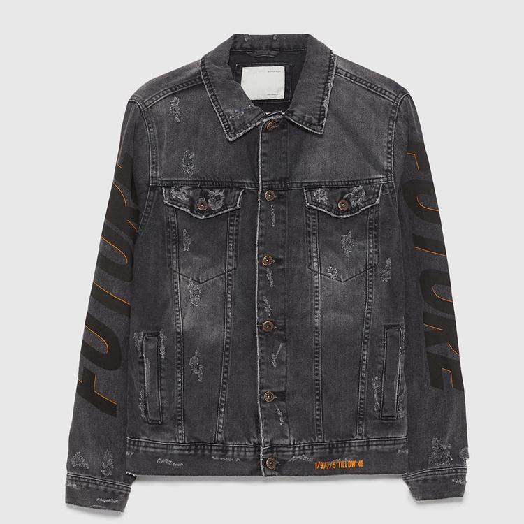 Une veste en jean noir délavé de haute qualité, 100% coton, avec rivets et imprimés, logo à impression personnalisé, usine chinoise, nouveau