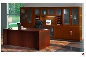 Peblo Executive Office Desk Workstation,Glass Door Storage Credenza